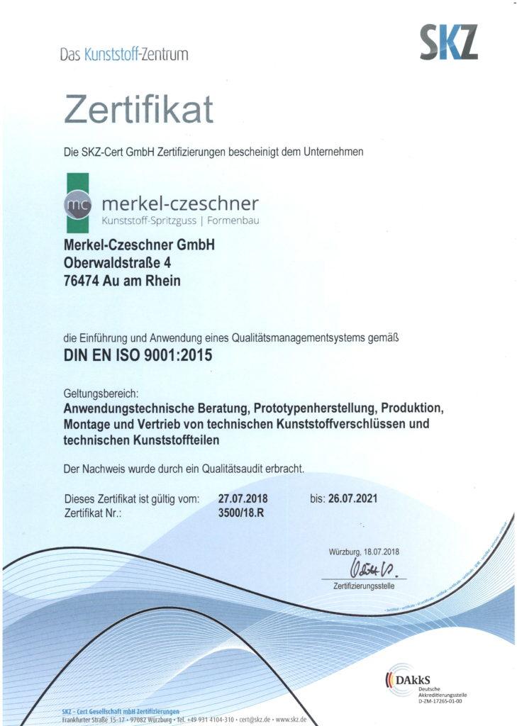 SKZ Zertifikat ISO 9001 2015_2018-2021